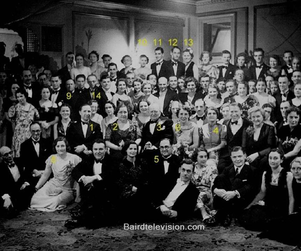 A large group photo taken at the Baird Television Ltd. annual dinner, March 1938