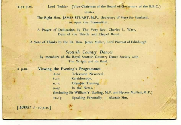 The original event card from the opening of television at BBC Scotland in 1952