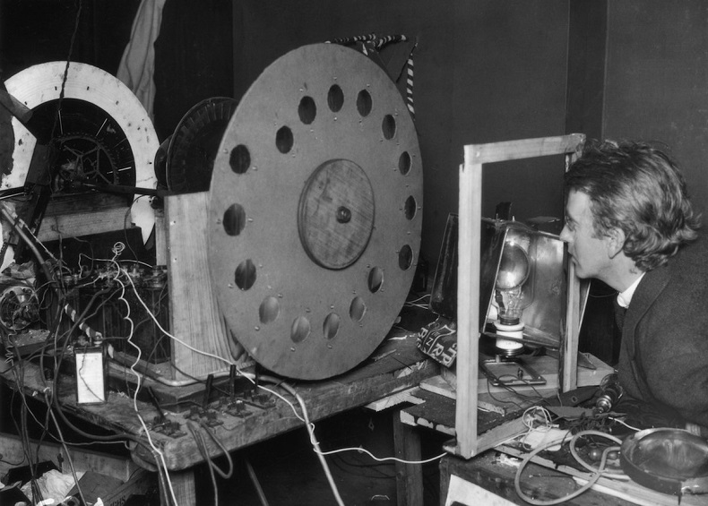 John Logie Baird in 1925 in his laboratory at 22 Frith Street