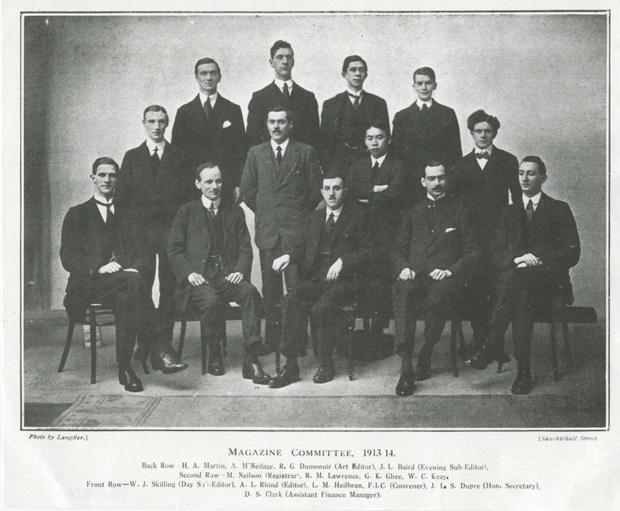 Photograph of Baird and fellow students on the Magazine Committee 1913-1914