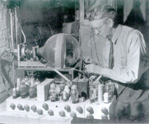John Logie Baird in his laboratory circa 1943