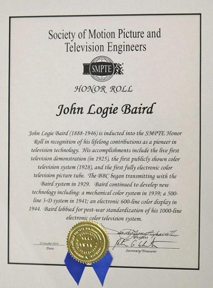 John Logie Baird SMPTE honor roll certificate
