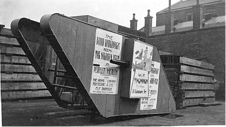 A photograph of the plywood tank constructed to advertise the Baird Undersock