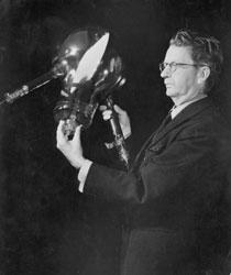 JLB holding the Telechrome tube, 1944