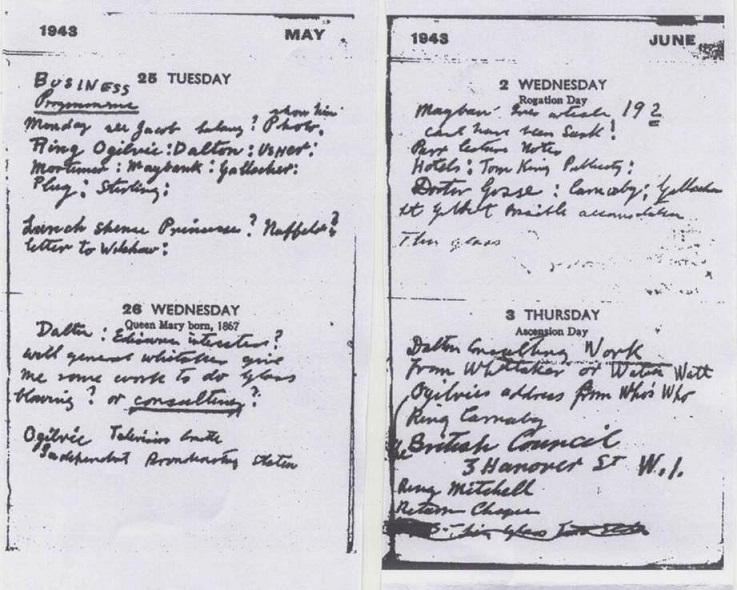 an image of Baird's wartime diary